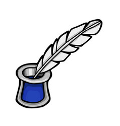 feather with glass of ink vector image