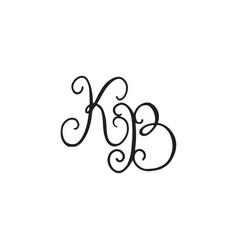 Handwritten monogram kb icon vector