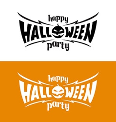 Happy hallowen party title logo template Bat wings vector image