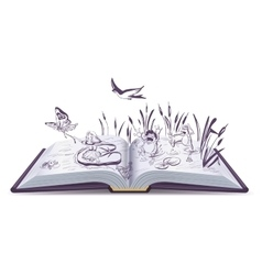 Open book tale Thumbelina vector image vector image