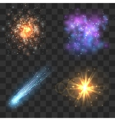 Space cosmos objects comet meteor stars vector image vector image