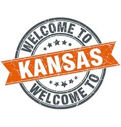 Welcome to kansas orange round ribbon stamp vector