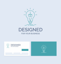 3d cube idea bulb printing box business logo line vector