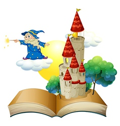 A book with an image of a castle and a magician vector image