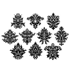 Abstract black flowers set vector