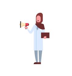 Arab female doctor holding loudspeaker shouting vector
