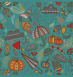 Autumn seamless pattern turquoise background vector