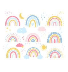 Bacute rainbow in cartoon scandinavian vector