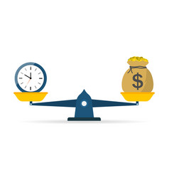 Balance scale money and time icon compare vector