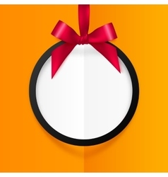 Black round hanging frame with red silky bow and vector