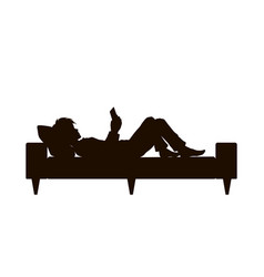 Black silhouette boy lying with phone vector