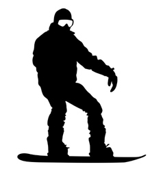 Black silhouettes snowboarders on white background vector