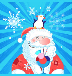 bright new year card with santa claus and a vector image