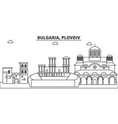 Bulgaria plovdiv line skyline vector