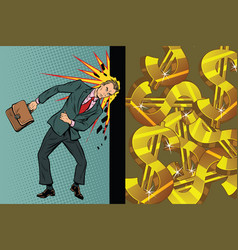 Businessman breaks the wall of his head dollars vector