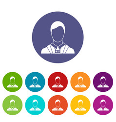 Businessman with identity name card set icons vector