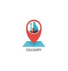 Canada calgary map pin point icon vector