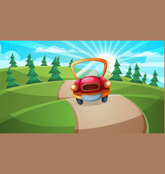 car road cartoon forest landscape vector image