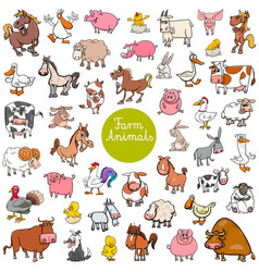 Cartoon farm animal characters big set vector