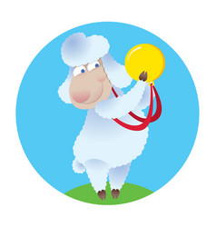 Cartoon sheep holding gold medal vector