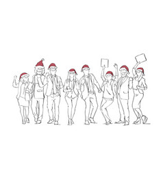 cheerful group of people wearing santa hats vector image
