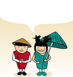 Chinese cartoon couple bubble dialogue vector image