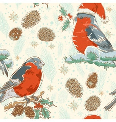 Christmas hand drawn seamless background with bird vector image