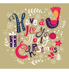 christmas with festive bird and text vector image