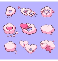 Cloud love hearts comic elements for Valentines vector image
