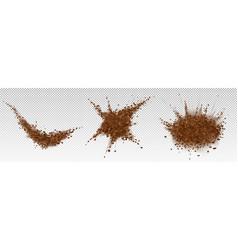 Coffee beans explosion ground arabica powder vector