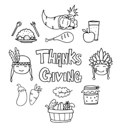 Collection thanksgiving element on doodles vector