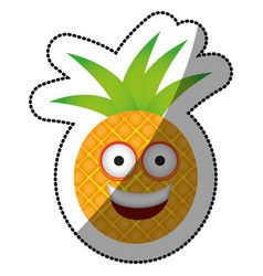 Color kawaii fruit pineapple happy icon vector
