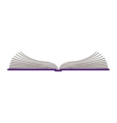 Color silhouette with open book vector