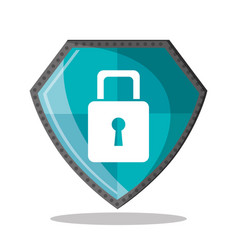 cyber security shield protection padlock vector image