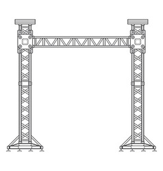 dark contour truss tower lift construction vector image