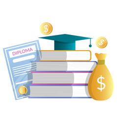 Diploma money bag books academic hat vector