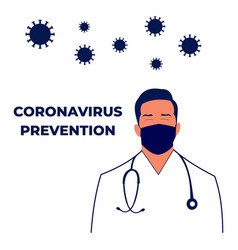 Doctor with medical mask coronavirus prevention vector