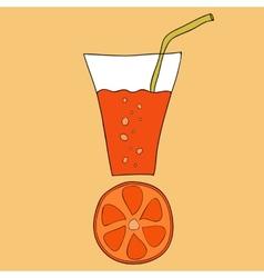 Doodle grapefruit juice vector image