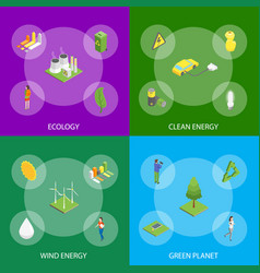 ecology concept banner set 3d isometric view vector image