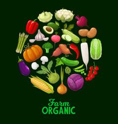 farm vegetables veggies cartoon poster vector image