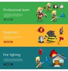 Firefighters Team Equipment Horizontal Banners vector