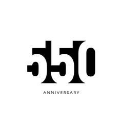 five hundred fifty anniversary minimalistic logo vector image