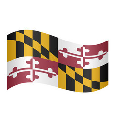Flag of maryland waving on white background vector