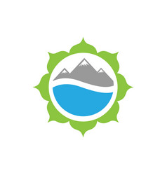 Flower mountain and water for nature icon logo vector