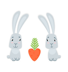 funny cute bunnies and carrots isolated on white vector image