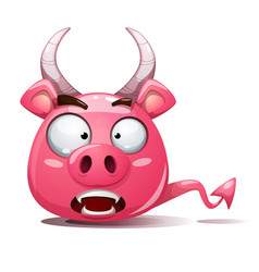 Funny cute crazy pig icon devil smiley symbol vector