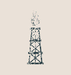 Gas tower icon grunge style vector
