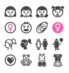 girl icon set vector image