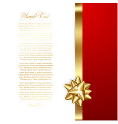 gold bows with ribbon birthday template vector image