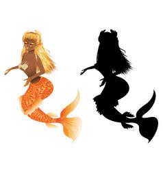 gold fish tail mermaid vector image
